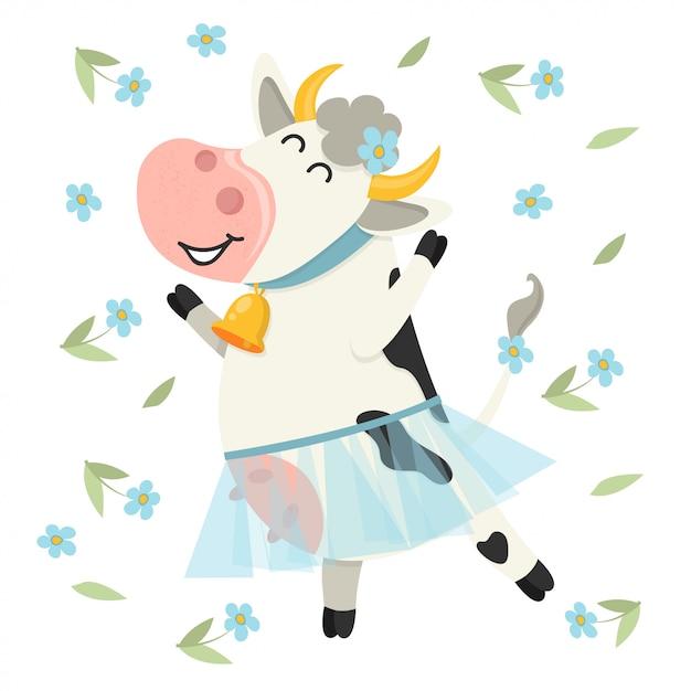 Cute cow dancing in blue skirt. Premium Vector
