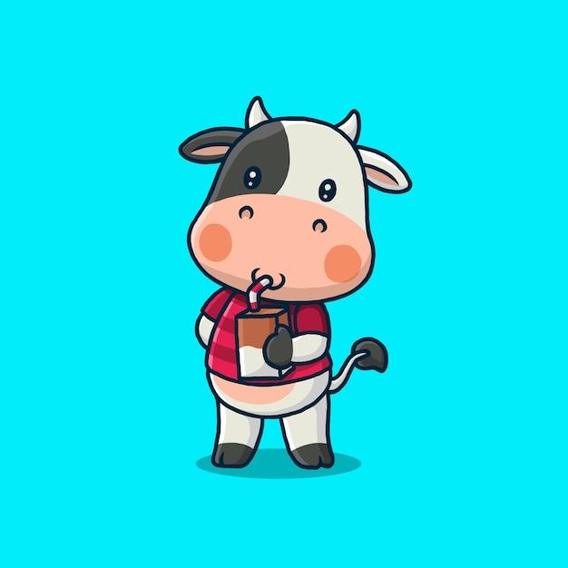 青で隔離の牛乳の箱を飲むかわいい牛 Premiumベクター