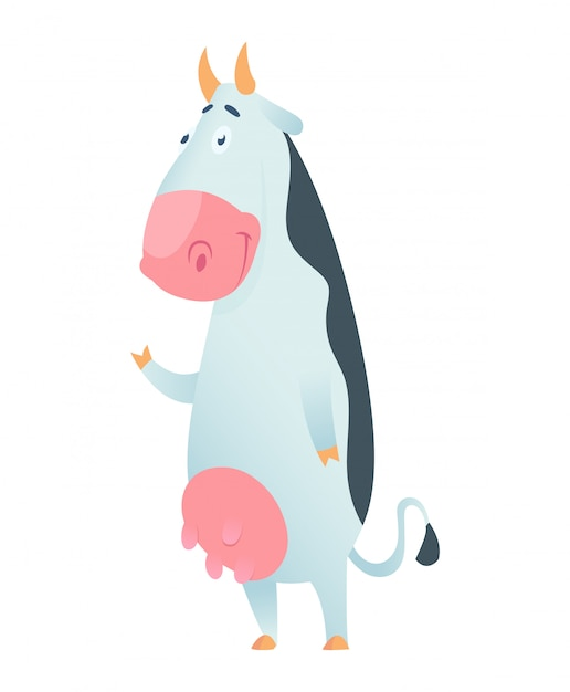 Cute cow in flat style isolated. vector illustration. cartoon cow. Premium Vector