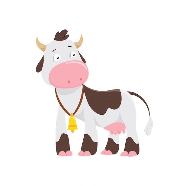 Cute cow in flat style isolated on white background Premium Vector