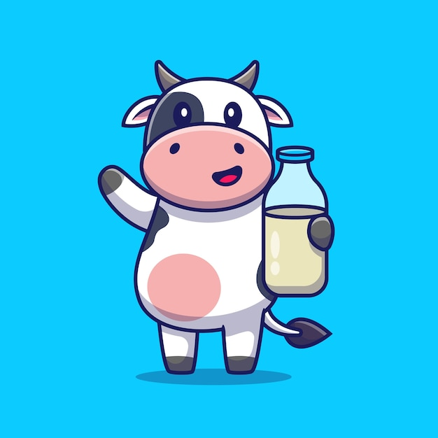 Cute cow holding milk. animal drink Free Vector