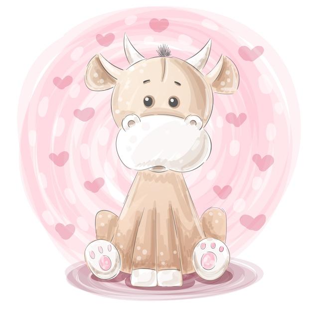 Cute cow illustration Premium Vector