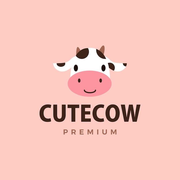 Симпатичные коровы логотип значок иллюстрации Premium векторы