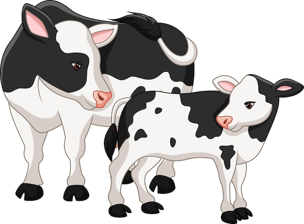 Cute cow mother with baby calf Premium Vector