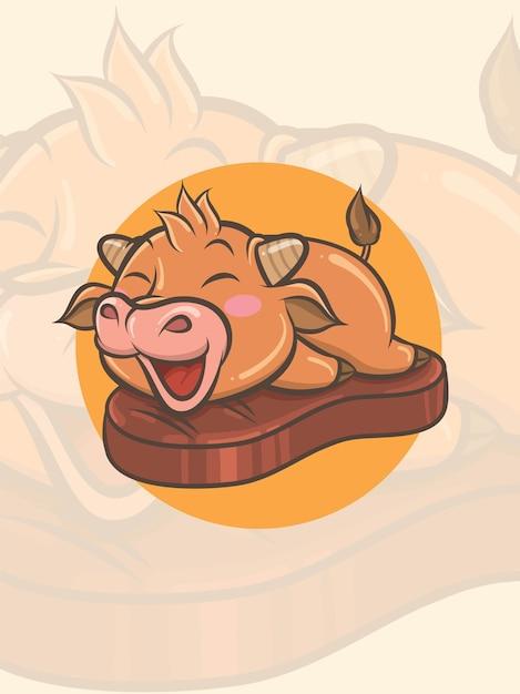 牛肉のグリルでかわいい牛-マスコットとロゴのイラスト Premiumベクター