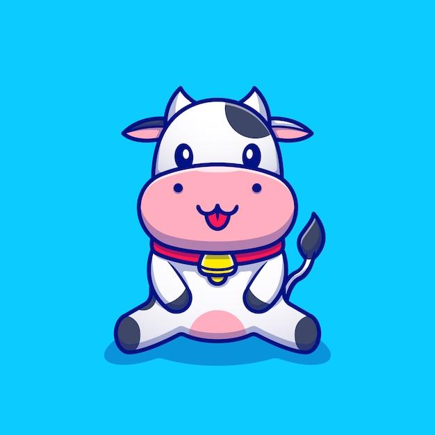 귀여운 암소 앉아 만화 아이콘 그림입니다. 동물 아이콘 컨셉 프리미엄. 만화 스타일 프리미엄 벡터
