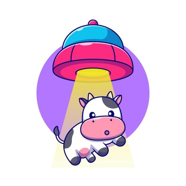 Mucca carina succhiata nel veicolo spaziale ufo Vettore gratuito