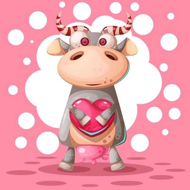 Cute cow with heart air balloon Premium Vector