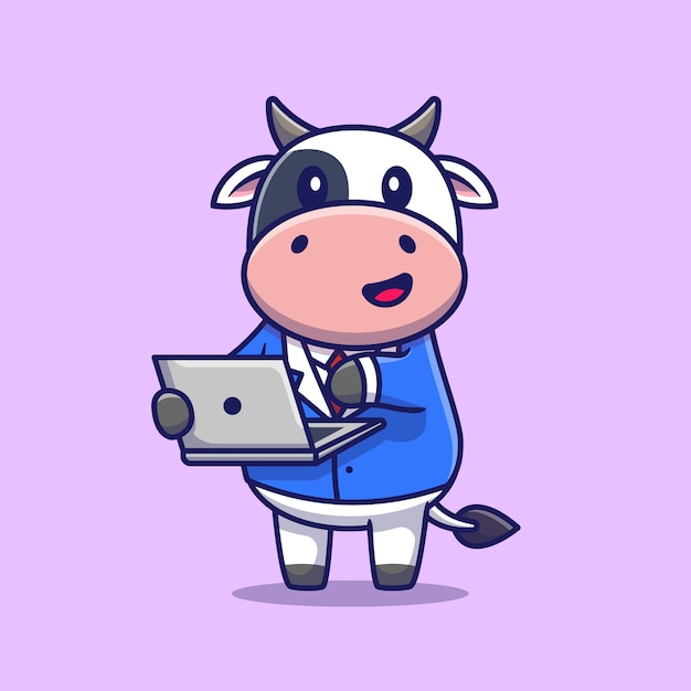 Cute cow working on laptop. animal technology Free Vector