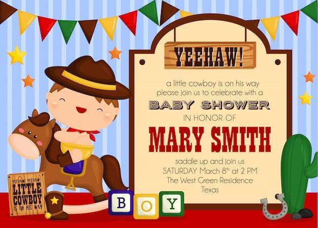 Cute cowboy baby shower invitation Premium Vector
