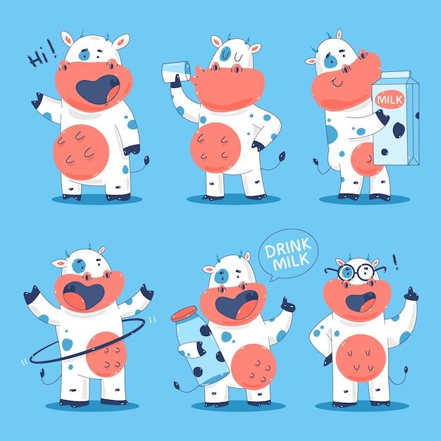 Набор персонажей мультфильма милые коровы Premium векторы