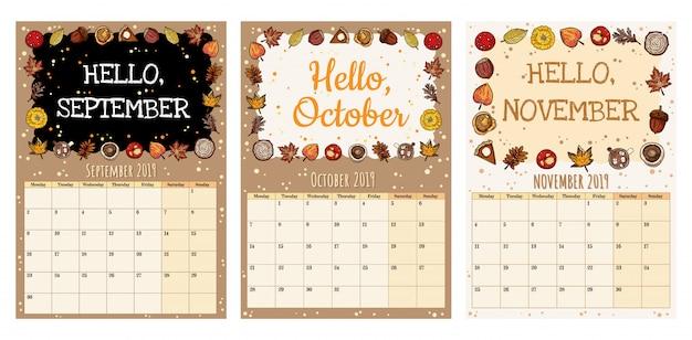 Cute cozy hygge 2019 autumn calendar planner with fall decor. Premium Vector