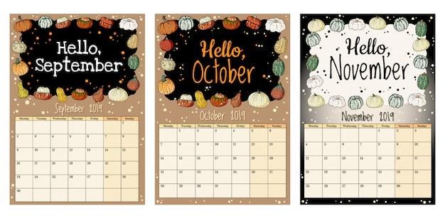 カボチャの装飾が施されたかわいい居心地の良いヒゲ2019秋カレンダープランナー、9月、10月、11月 Premiumベクター