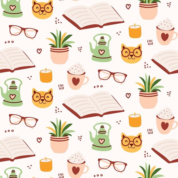 Cute cozy reading seamless pattern Premium Vector