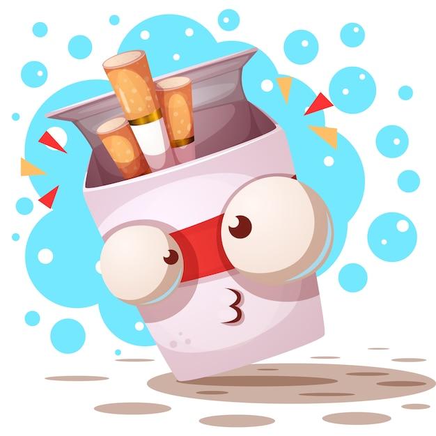 Cute, crazy cigarette - cartoon characters Premium Vector