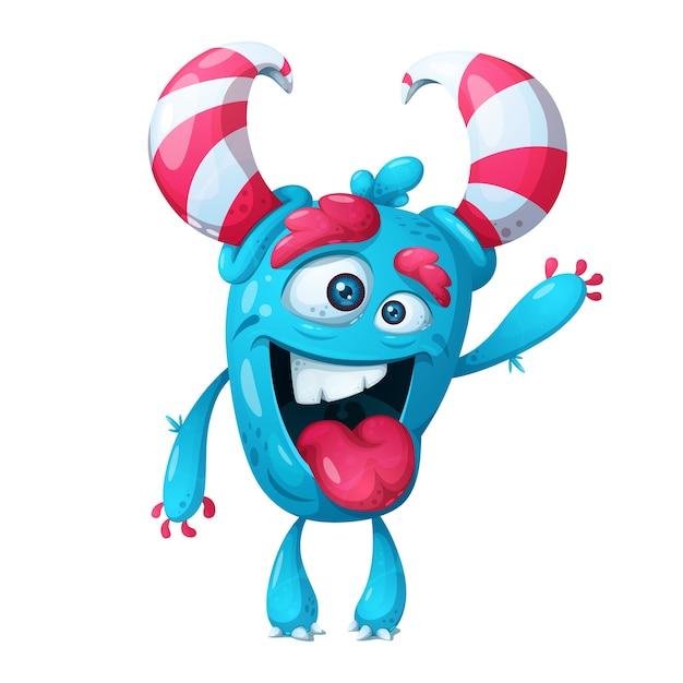 Cute crazy monster character. Premium Vector