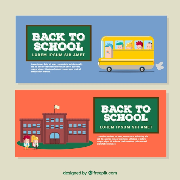 Cute creative flat back to school banners