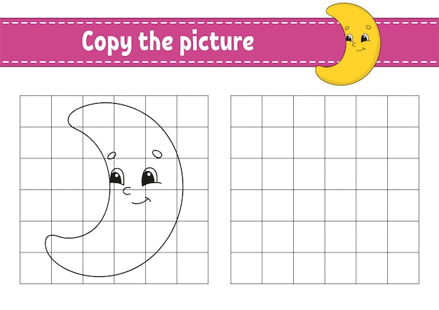 Cute crescent. copy the picture. coloring book pages for kids. Premium Vector