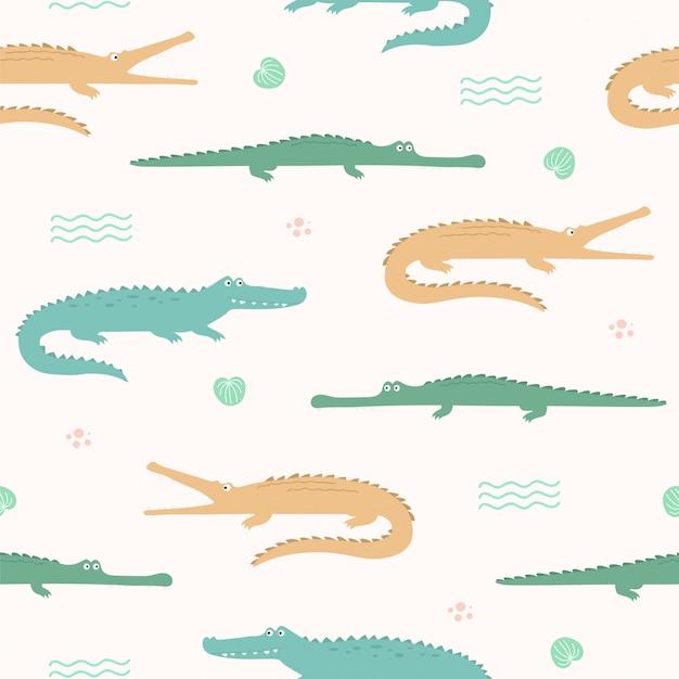 Cute crocodile animal seamless pattern for wallpaper Premium Vector