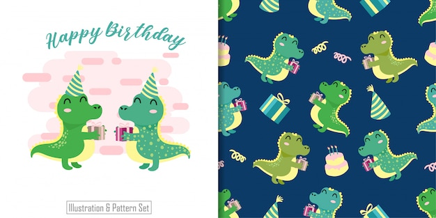 Cute crocodile animal seamless pattern with hand drawn illustration card set Premium Vector