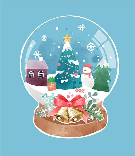 クリスマスツリーと雪の町のイラストとかわいい水晶玉 Premiumベクター