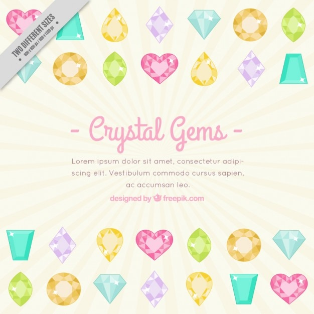 cute crystal gems background template vector free download