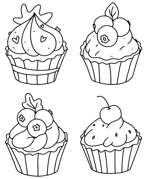 Premium Vector Cute Cupcakes Coloring Page Cupcake Set Outline Doodle Vector Illustration A Set Of Muffins