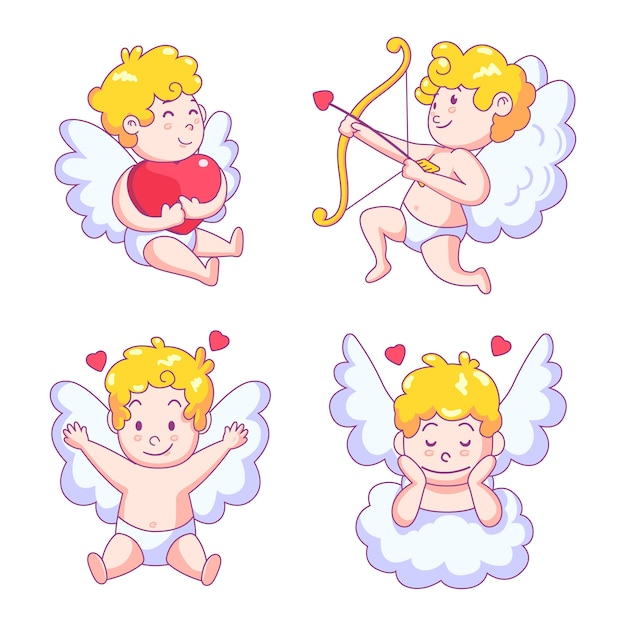 Cute cupid angel character with wings Free Vector