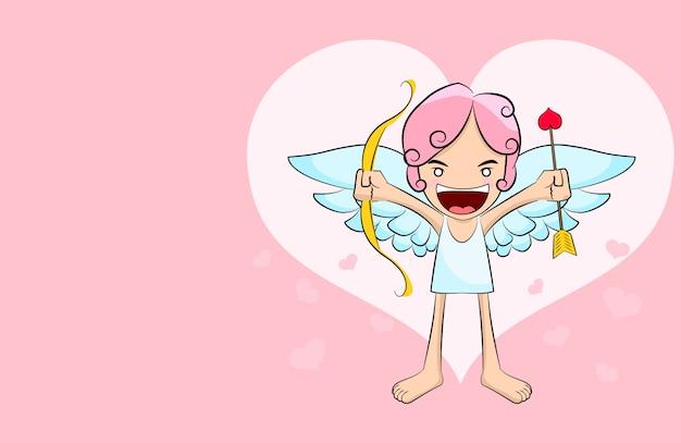 Cute cupid cartoon on pink hearts background Premium Vector