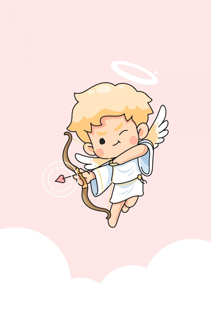 Premium Vector Cute Cupid Cartoon For Valentine Day Concept