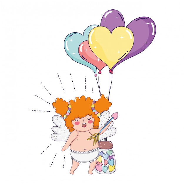 Cute cupid chubby girl with balloons helium heart shape Premium Vector