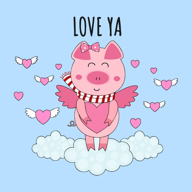 Cute cupid pig piglet with heart Premium Vector