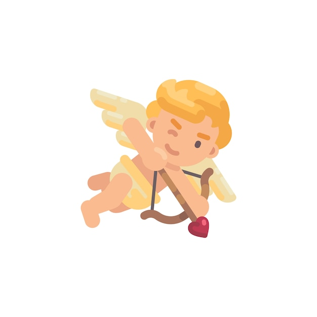 Cute cupid shooting a bow Premium Vector