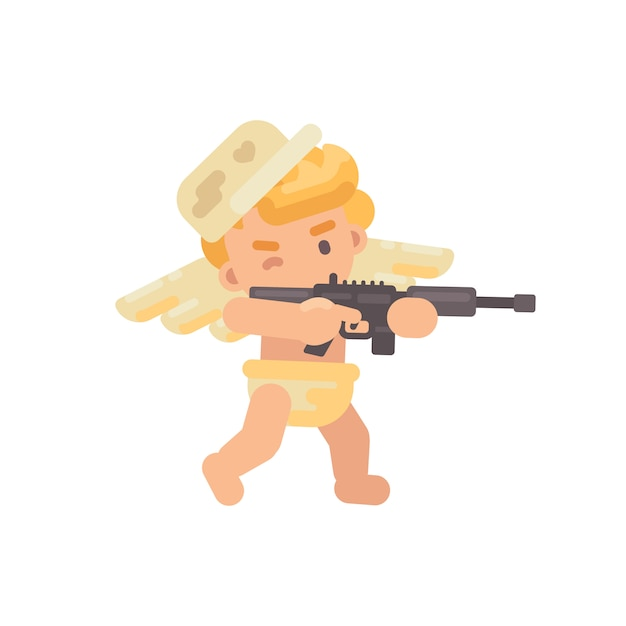 Cute cupid shooting a rifle Premium Vector