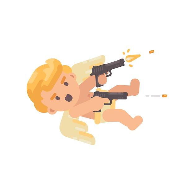Cute cupid shooting two pistols Premium Vector