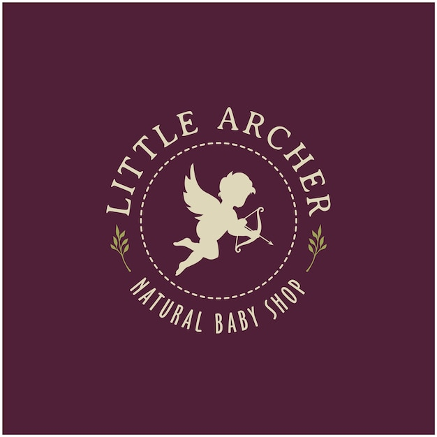 Cute cupid with arrow bow and wings  label logo design
