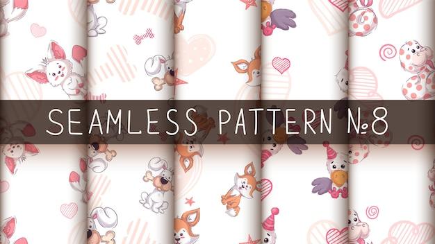 Cute cute animals - seamless pattern. Premium Vector