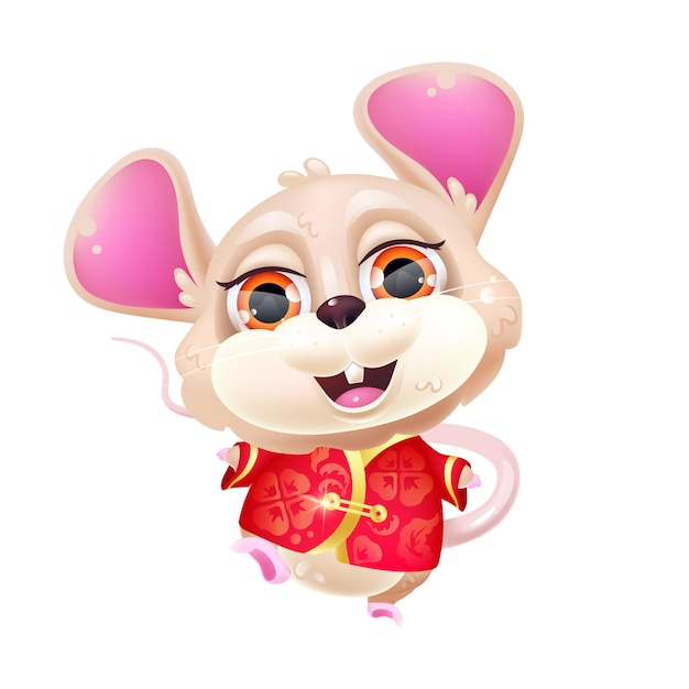 Cute dancing mouse kawaii cartoon character. chinese new year zodiac symbol. adorable, funny animal in traditional red costume isolated sticker, patch. anime baby rat emoji on white background Premium Vector