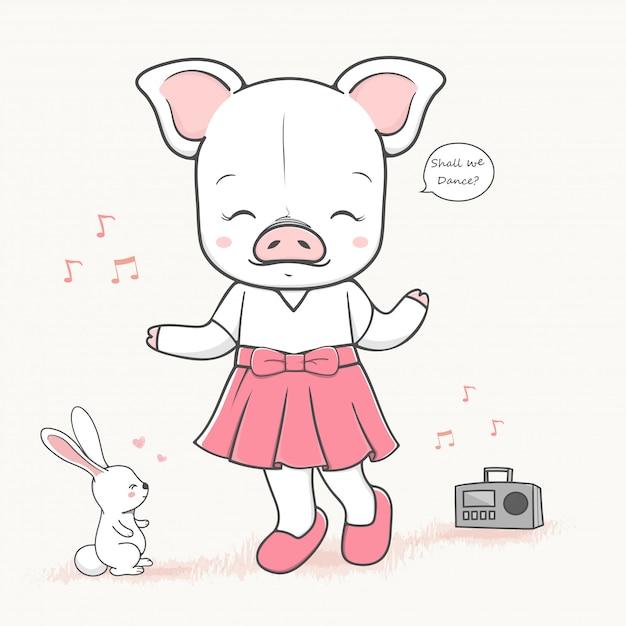 Cute dancing pig cartoon hand drawn vecter illustration. Premium Vector