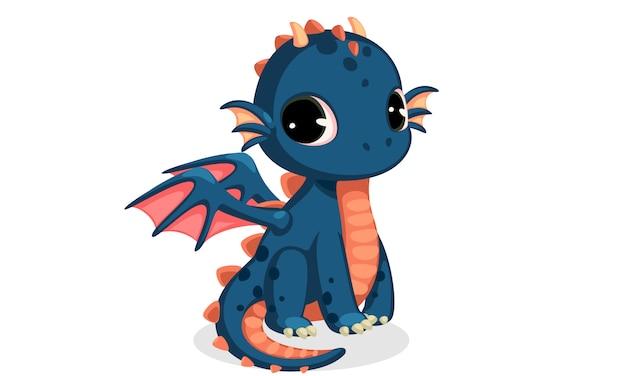 Simpatico cartone animato drago bambino blu scuro Vettore gratuito