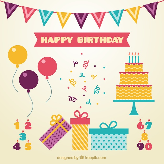 Cute decoration of birthday in flat design Vector Free Download