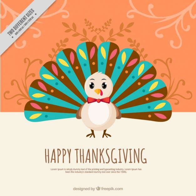 Cute Decorative Background Of Thanksgiving Turkey Free Vector