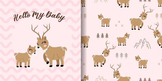 Cute deer animal seamless pattern with baby card Premium Vector