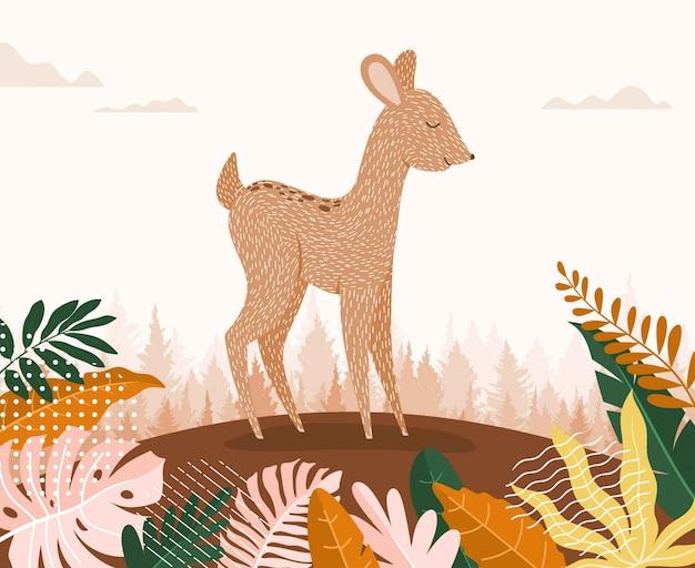 Милый мультфильм оленей между джунглями с листьями и деревьями. Premium векторы