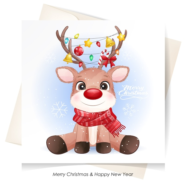 Cute  deer for christmas with watercolor card Premium Vector