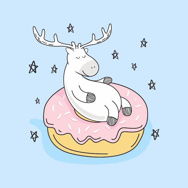 Милый олень пончики каракули мультфильм Premium векторы