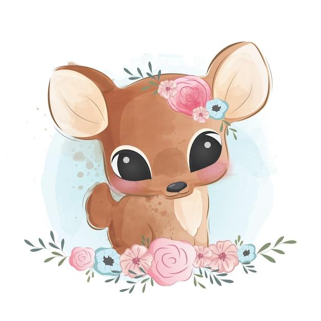 Cute deer in flower bush Premium Vector