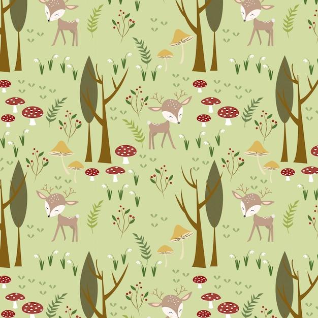 かわいい鹿の森林パターン Premiumベクター
