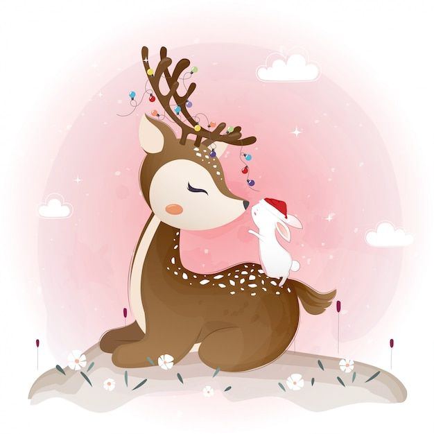 Cute deer and little bunny with flowers, floral wreath Premium Vector