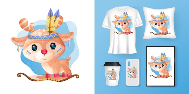 Cute deer poster and merchandising Premium Vector